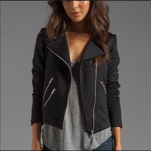 Black Quilted Zippers Moto Jacket S